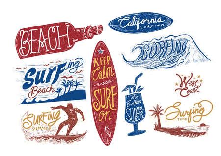 california coast: set of surfing beach typographies