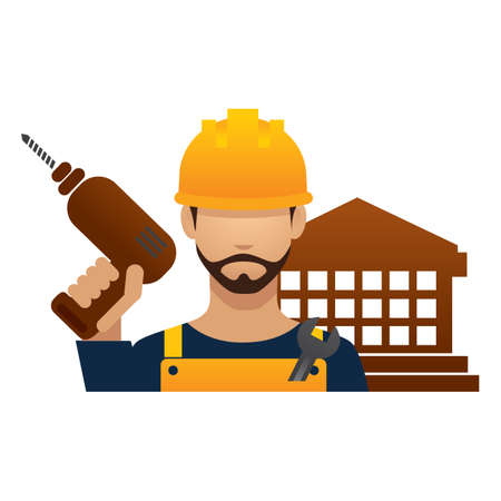 hark: construction worker with hand drill machine