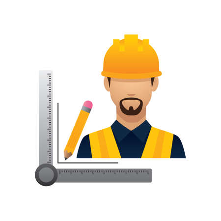 hark: construction worker with pencil and triangle ruler