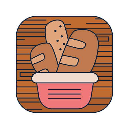 crisp: basket of baguettes Illustration