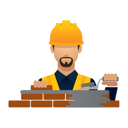 hark: construction worker with laying bricks