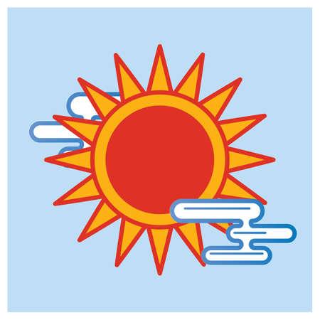 sunrays: sun with clouds Illustration