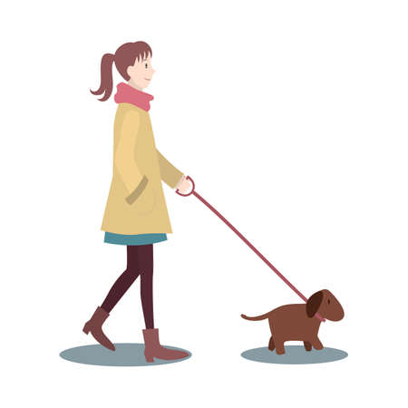 human beings: woman walking with dog