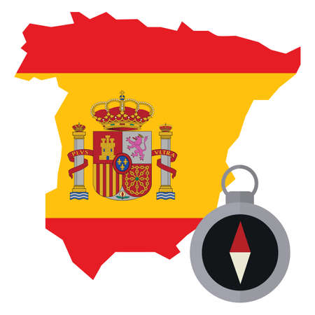 spain map: spain map with compass Illustration