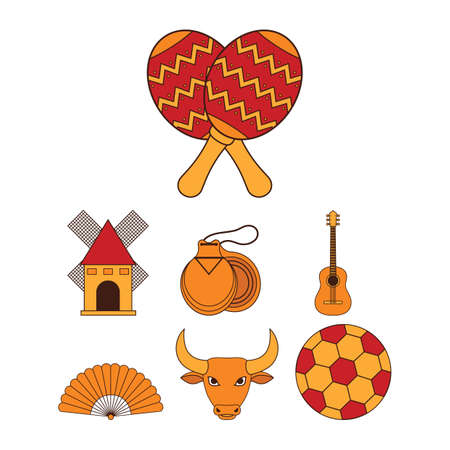 spanish fan: set of spain icons