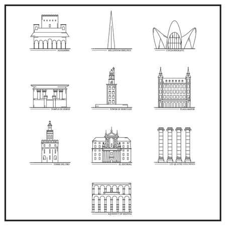 set of spain landmarks Illustration