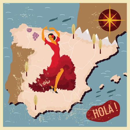 spain map: spain map wallpaper Illustration