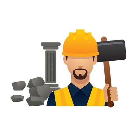 sledgehammer: construction worker with sledgehammer
