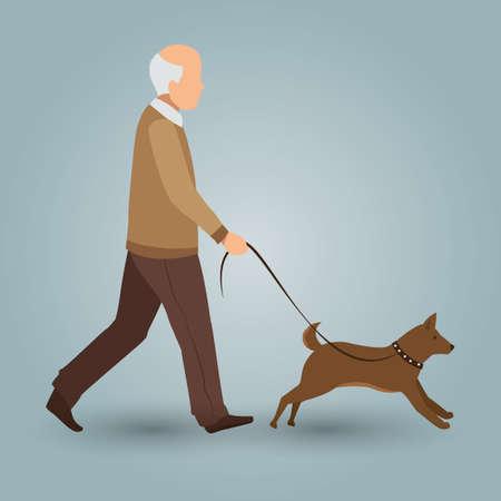 dog walking: old man walking with his dog