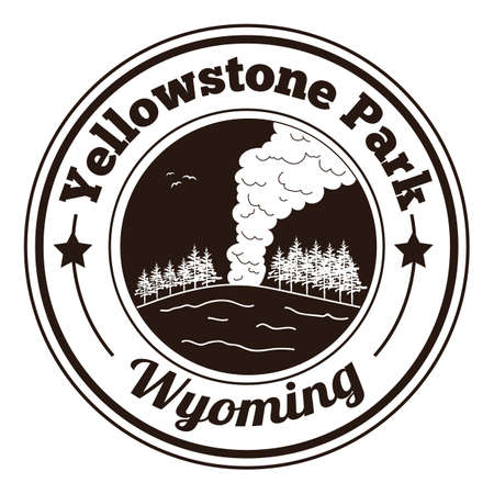 famous place: yellowstone park label