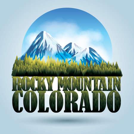 cartel de las montañas rocosas de Colorado Ilustración de vector