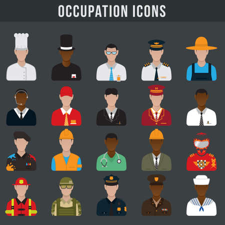 set of occupation icons 矢量图像