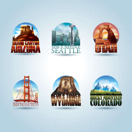 colorado rocky mountains: set of usa landmark posters