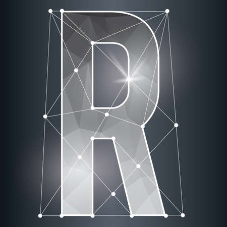 consonant: low poly alphabet r Illustration