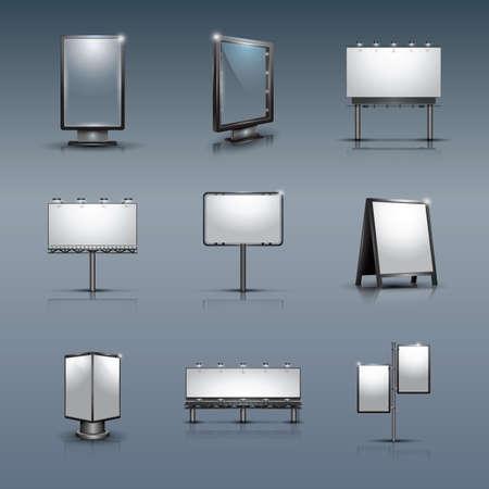 outdoor lights: set of billboards Illustration