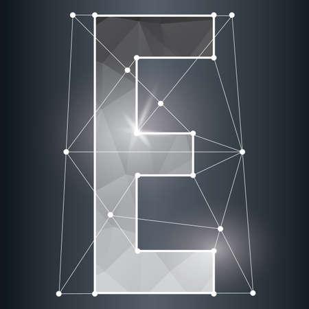vowel: low poly alphabet e