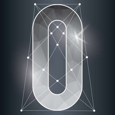 low poly: low poly alphabet o Illustration