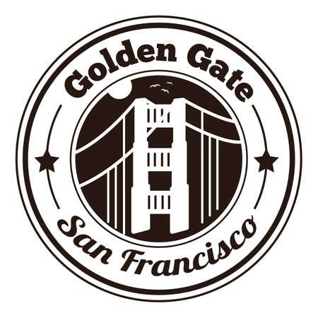 golden gate: golden gate label Illustration