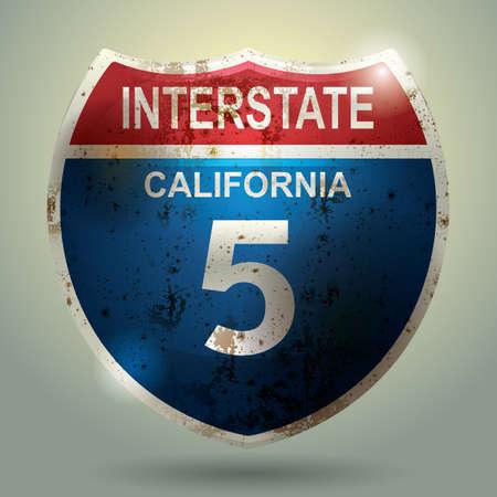 interstate 5 in california sign Çizim