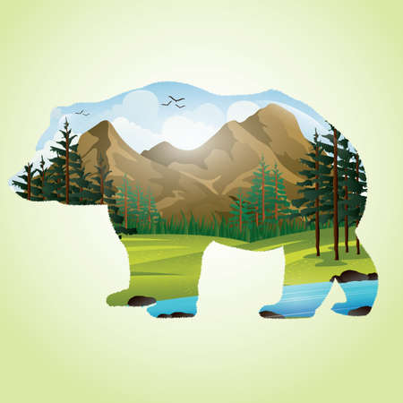 double exposure: double exposure of bear and mountainscape