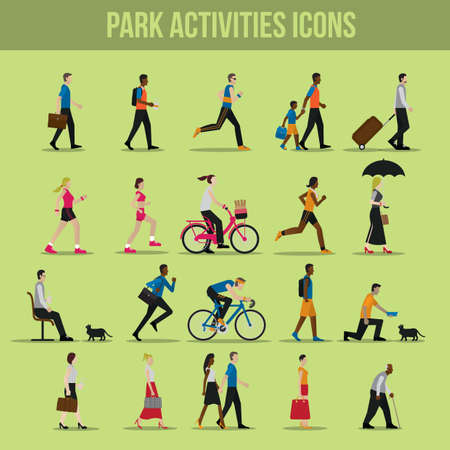 set going: park activities icons