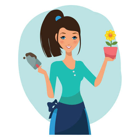 plant stand: woman holding flower pot Illustration