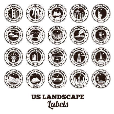 米国のコレクション風景ラベル  イラスト・ベクター素材