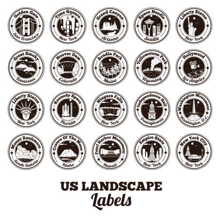 space needle: collection of usa landscapes labels