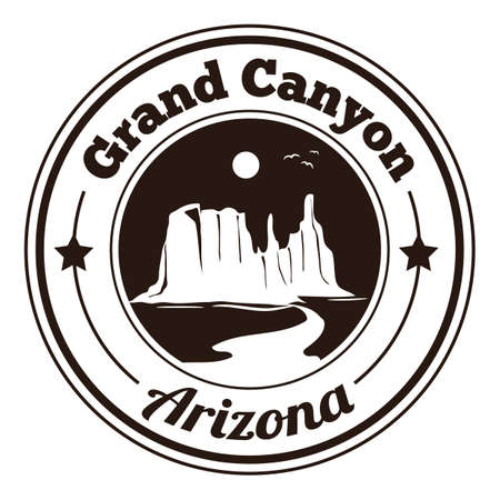 canyon: grand canyon label Illustration