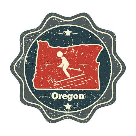 unites: oregon map label Illustration