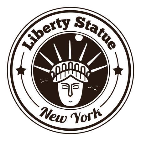 liberty statue: liberty statue label Illustration