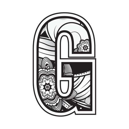 zentangle styled alphabet g Ilustração