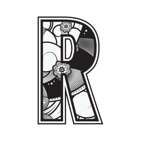 handdrawn: decorative alphabet r