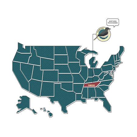 tennesse: nosotros mapa con el p�jaro del estado de Tennessee