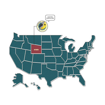 Us Map With Wyoming State Bird Royalty Free Cliparts Vectors And - Us map wyoming