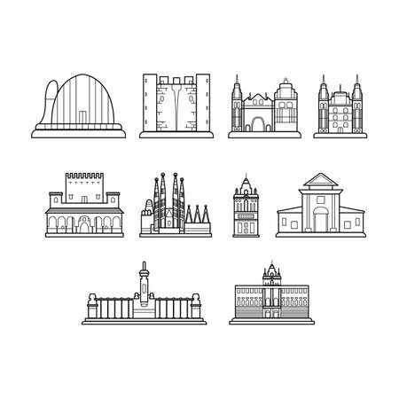 sagrada familia: set of spain landmarks Illustration