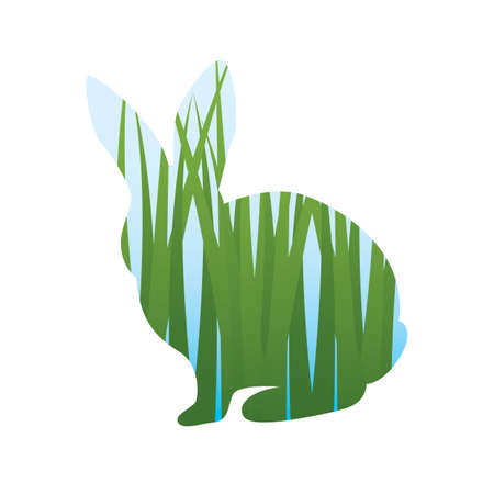 double exposure: double exposure of rabbit and grass