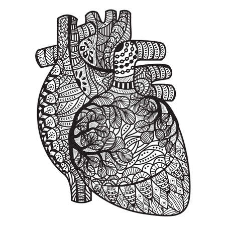 intricate human heart design