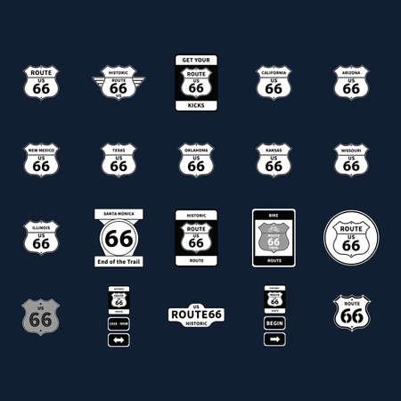 collection de la route 66 panneaux routiers