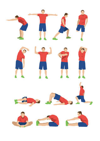 tun Sammlung von Männern Stretching