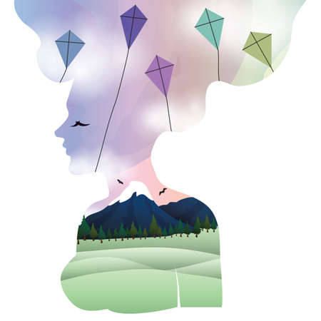 double exposure of woman and kites
