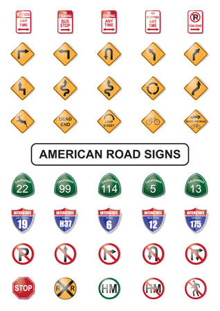 collection of american road sign