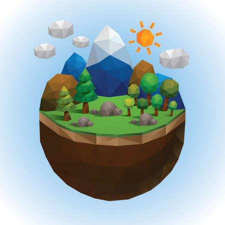 countryside: low poly of countryside Illustration