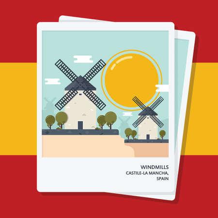 castilla: windmills photographs Illustration