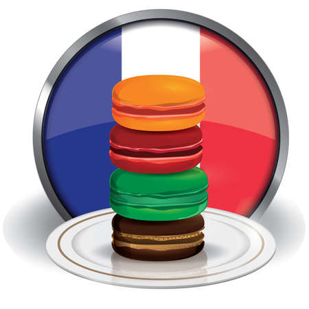 french culture: macarons in a plate Illustration