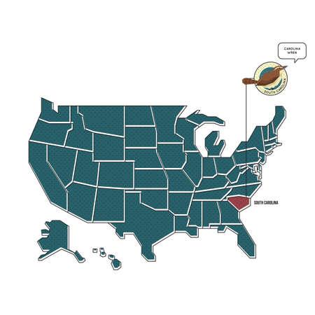 unites: us map with south carolina state bird Illustration