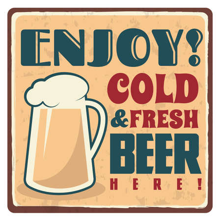 cold and fresh beer sticker 일러스트