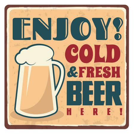 etiqueta engomada de la cerveza fría y fresca Ilustración de vector