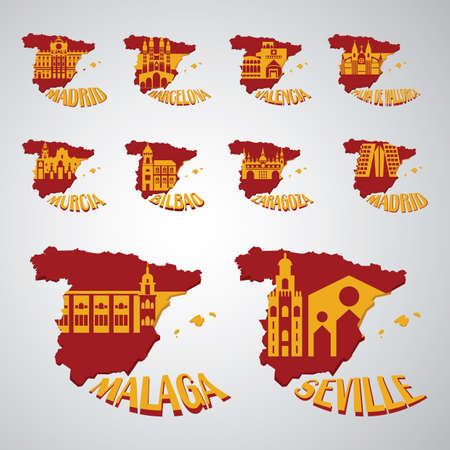 spain map: set of spain map with landmarks