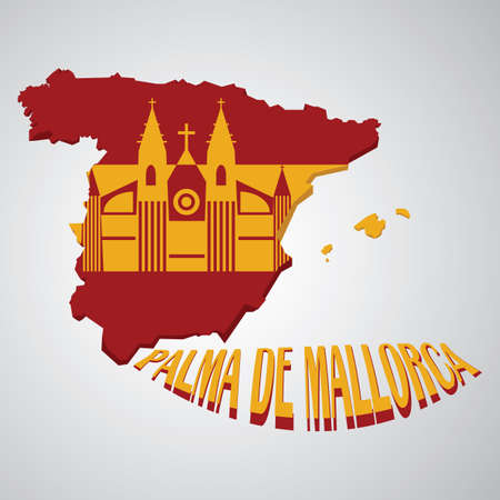 spain map: spain map with cathedral of palma de mallorca
